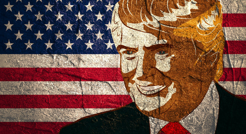 54013910 - january 18, 2016: an illustration of a portrait of republican presidential candidate donald trump on national flag background textured by concrete wall surface